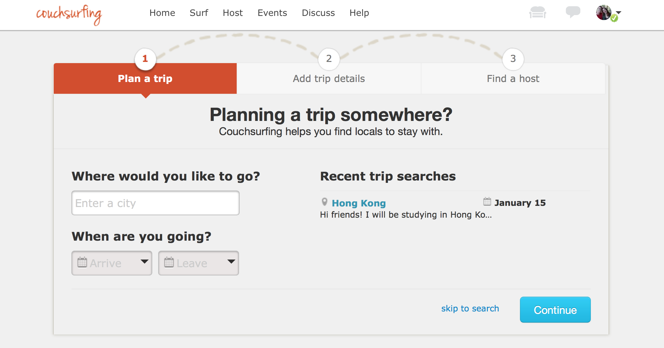 Couchsurfing.org screenshot. 5 Cheap Ways to Travel The World for Broke Students - Teach English Abroad - The Alternative Ways