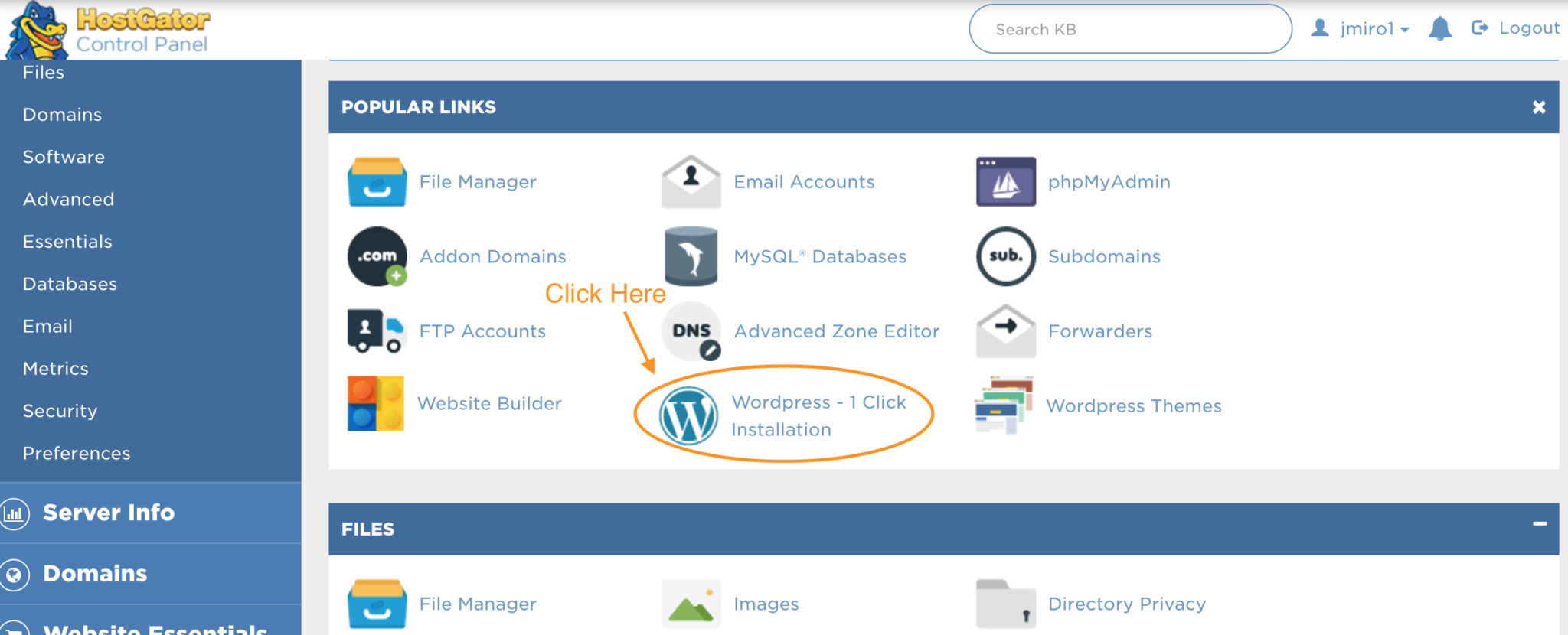 1-click wordpress instalation