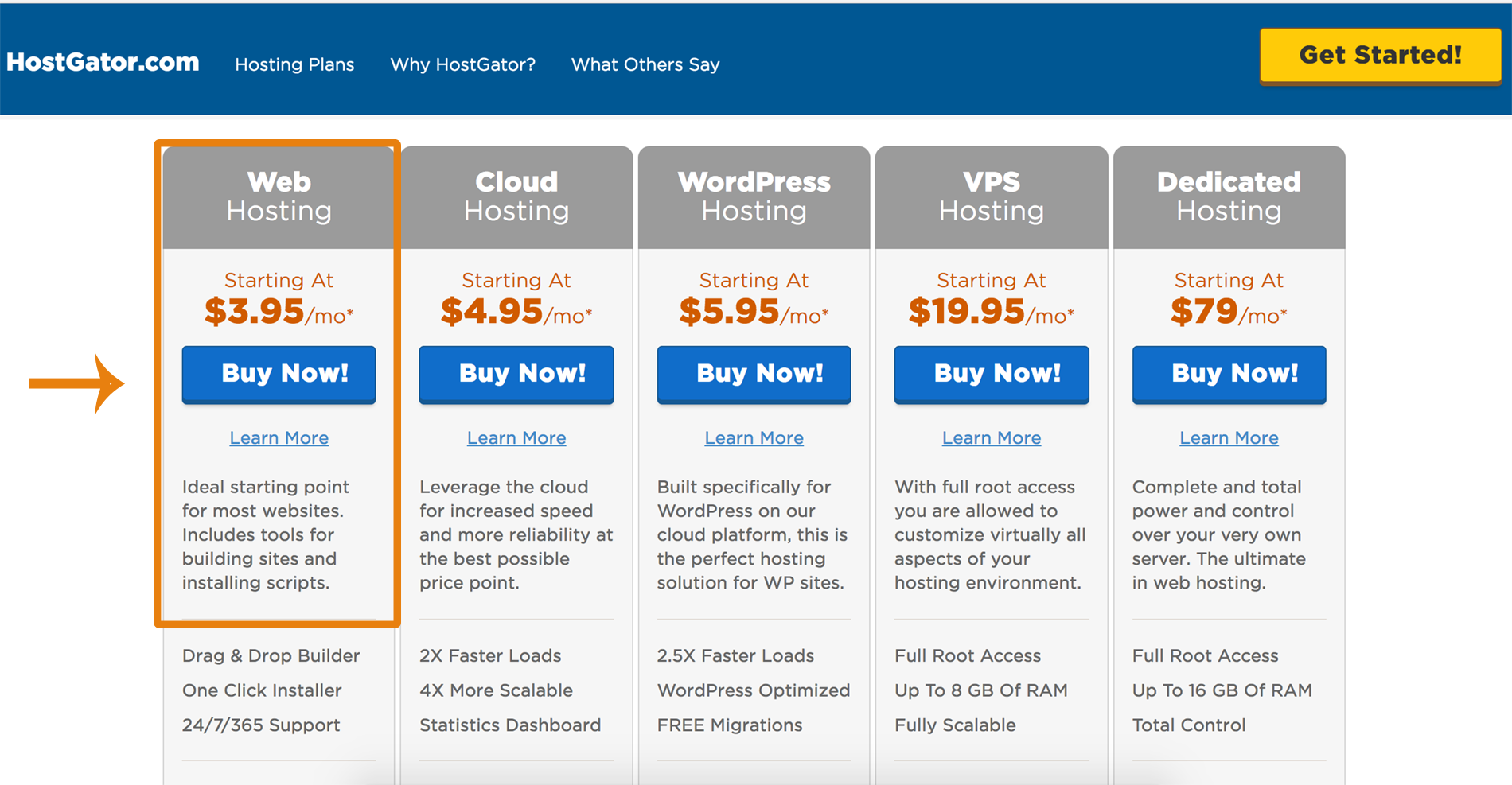 pricing table hostgator1